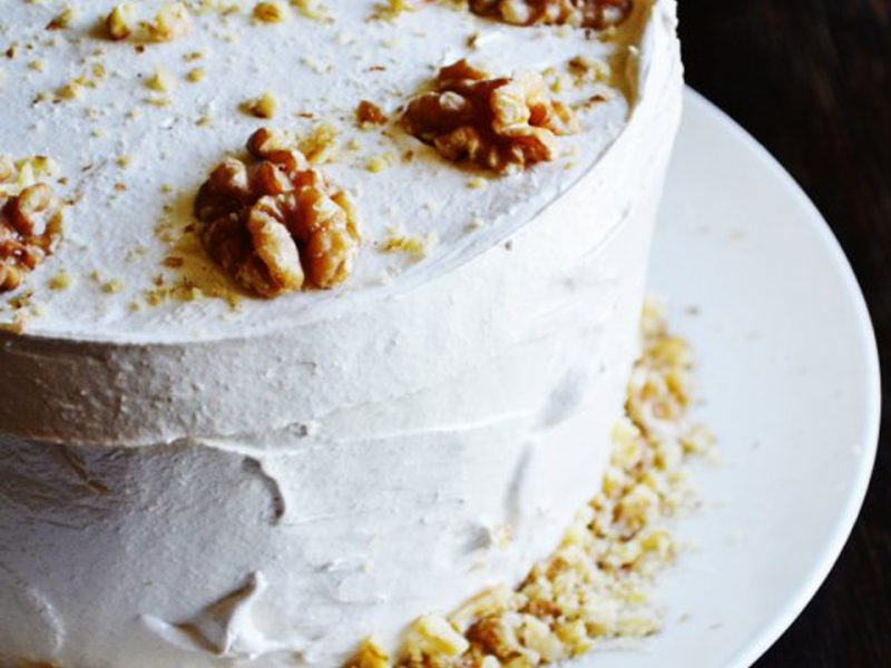 walnut frosted cake